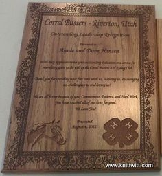 """Engraved 9x12 Oak Plaque - $42, enter promo code """"JOAN2013 for 25% discount off your entire order at www.knittwitt.com."""