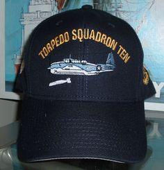 TORPEDO SQUADRON TEN w PLANE DROPPING TORPEDO CUSTOM MADE BALL CAP. 5b5f33ef250