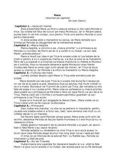 Mara -rezumat pe capitole- De Ioan Slavici Capitolul 1.—Saracutii ...