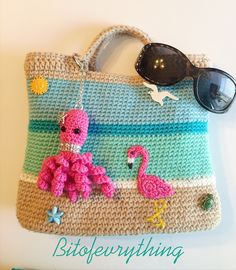Crochet flamingo, seagull & sea creatures beach bag with crochet octopus charm and sun glasses