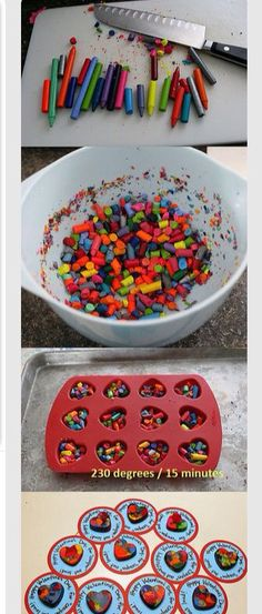 Cut up crayons  Melt them in the oven Make sure they are in a mold Take them out and let them set