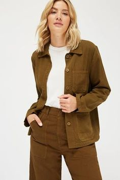 c60bd80f3285c Lacausa Clare canvas tencel Jacket scout olive green