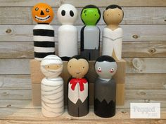 A little more cute than spook, these Halloween peg dolls want to be a part of your next ghoulish get together! They are perfect for adding some not so scary decor to your home, and make a great plaything as well. Doesnt your childs dollhouse need a ghost in the attic?  Included are: a pumpkin head, mummy, zombie, vampire, Frankenstein and his bride, and a ghost.  Dont want all seven? Send me a message and tell me which ones you want and Ill set up an order just for you.  They stand about 2…