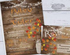 Rustic Fall Wedding Invitation Rustic Autumn por NotedOccasions