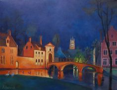 Bruges by night, painting, Amelia Husnik