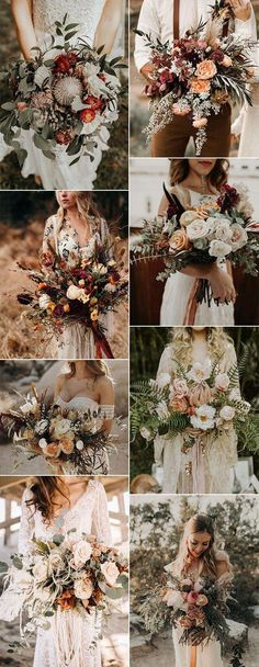 Top 20 boho chic wedding bouquet ideas for fall 2019 - Bohemian stylish . - Top 20 boho chic wedding bouquet ideas for fall 2019 – Bohemian stylish wedding ceremony b - Fall Wedding Arches, Fall Wedding Bouquets, Fall Wedding Flowers, Fall Wedding Colors, Flower Bouquet Wedding, Wedding Dresses, Bridal Bouquets, Wedding Ceremony, Bouquet Flowers
