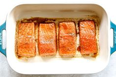 Baked Salmon with Dill Sauce - Carlsbad Cravings Dill Sauce For Salmon, Salmon Marinade, Creamy Dill Sauce, Carlsbad Cravings, Easy Salmon Recipes, 9x13 Baking Dish, Salmon Fillets, Cooking Salmon, Baked Salmon