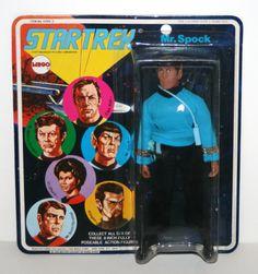 """1974 Vintage Mego MR. SPOCK 8"""" Action Figure In Original Package (Star Trek)"""