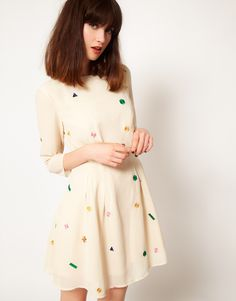 Nishe Star & Check Embroidered Dress