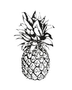 Black pineapple on white background art print by PrintsEnPosters
