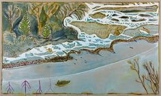 BILLY CHILDISH man in a small boat, winter, 2013 oil and charcoal on linen 40.55 x 120.08 inches 103 x 305 cm LM19238