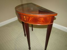 """Hekman Furniture demilune table with marquetry inlay 37""""Tx30""""Wx15""""D with glass top"""