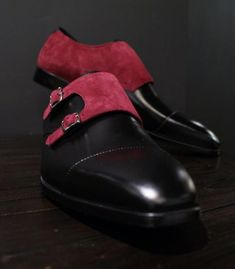 Hand Stitched Monk Suede Leather Shoes Black Red Suede Shoes Men Dress Shoes - Dress/Formal