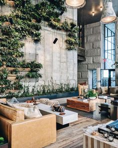Polished concrete, greenery feature wall, leather couches & timber flooring ~ 1 Hotel at Brooklyn Bridge 🌿 RG ~ 📷 Hotel Lobby Design, Hotel Restaurant, Restaurant Design, Architecture Magazines, Art And Architecture, Interior Plants, Interior And Exterior, Room Interior, Interior Colors