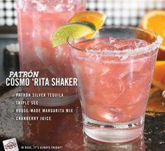 Patrón Cosmo 'Rita Shaker cocktail recipe: Patrón tequila, triple sec, house-made margarita mix and cranberry juice.
