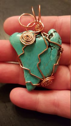 Copper Wire-Wrapped Turquoise Magnesite by WiredEarthCreations