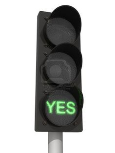 Traffic lights with green Yes signal. Isolated on the white background.