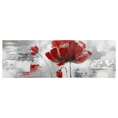 Bring sophistication into your home with this slender red oil painting. Its floral design adds a delicate look to your decor style. Accent any room with this canvas for a chic look. Pair with other decorative wall art for a cohesive assortment. Flower Canvas Art, Large Canvas Wall Art, Canvas Frame, Flower Art, Framed Art, Abstract Pictures, Acrylic Flowers, Arte Floral, Flower Images