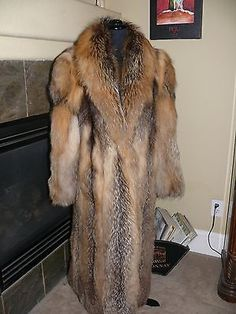 Gorgeus Full Length Golden Red Cross Fox Fur Coat