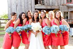 Love the color and the flowers with these dresses.