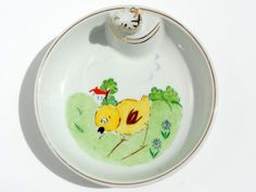 French Vintage Porcelain Baby Food Warming Dish/ Serving Dish/Yellow Chick. Lovely Original 1950s Gift for Baby or Toddler.Shipping Worldwide.