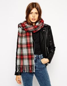 ASOS Grey Check Scarf