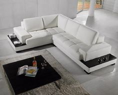 sectional sofa l shaped - white leather
