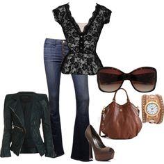 Lace Shirt + Leather Jacket