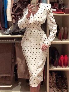 Kleiderstile Dots Puffed Sleeve Formal Dress - - Discover The Huntington Library, Art Collections, a Formal Dresses With Sleeves, Bodycon Dress With Sleeves, Long Sleeve Midi Dress, Dress Formal, Trend Fashion, Look Fashion, Womens Fashion, Retro Fashion, Latest Fashion