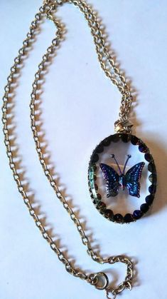 Vintage multi strand necklace multiple pendants-blue cameo-white enamel butterfly-blue butterfly cameo-faux pearls
