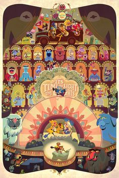 The Muppets movie poster by Glen Brogan (American, from his show) Art Disney, Disney Love, Disney Magic, Ghibli, Fraggle Rock, The Muppet Show, Studios, Rainbow Connection, Jim Henson