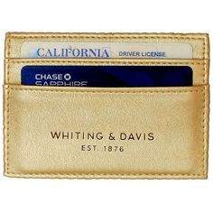 Whiting And Davis Brass Metal Mesh and Faux Leather Credit Card Holder (£20) ❤ liked on Polyvore featuring bags, wallets, gold, beige bags, metallic wallet, vegan bags, fake leather bags and metal wallet