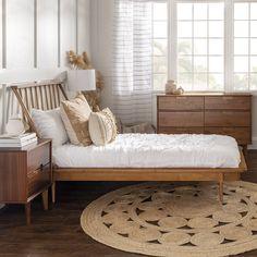Wood Twin Bed, Wood Beds, Boho Bed Frame, Bamboo Bed Frame, Pine Bed Frame, Bedroom Decor, Bedroom Ideas, Bedroom Modern, Bedroom Inspiration