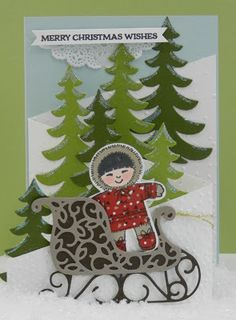 Stampin'Up! 'Santa's Sleigh', 'Cookie Cutter Christmas'. Tri-fold card . www.stamp-ing.blogspot.nl