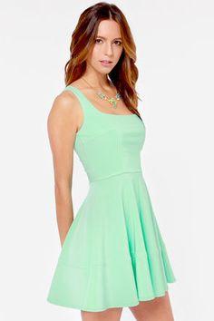 mint green dress.
