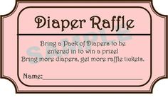 Baby shower idea - diaper raffle