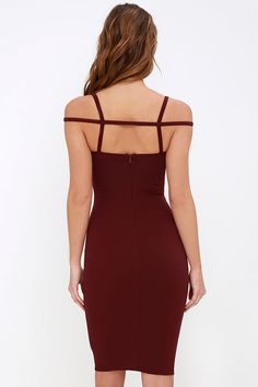 The Under A Spell Maroon Midi Dress is sure to captivate anyone who catches a glimpse of you in it! Stretch knit dress has a sweetheart bodice and caged decolletage. Under A Spell, Short Dresses, Prom Dresses, Maroon Dress, Body Con Skirt, Mermaid Dresses, Beautiful Gowns, Knit Dress, Evening Dresses