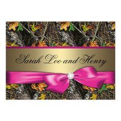 Hot Pink Formal Camo Wedding Invitation
