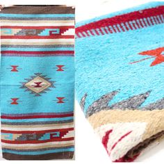 Your place to buy and sell all things handmade - Peggy Larson - Your place to buy and sell all things handmade Vintage Retro Light Blue Southwest Aztec Bohemian Navajo Print Rug/Blanket - Southwest Decor, Southwestern Decorating, Navajo Print, Indian Blankets, Entry Way Design, Navajo Rugs, Skull Painting, Cowboys And Indians, Retro Lighting