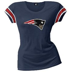 Support your New England Patriots when they're on the field with this fantastic premium juniors t-shirt. The front of this 100% cotton t-shirt features applique of the teams signature logo made with three layers of fabric. Each sleeve has applique sports stripes in the teams colors.