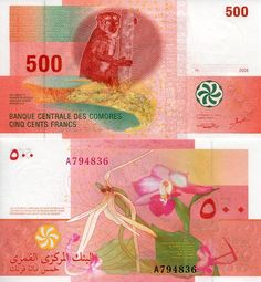 Comores 1000 Francs UNC /> Coelacanth Comoros 2005 P-16b