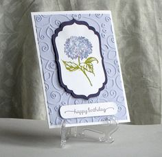 Hydrangea Flower -  Glittered Birthday Card - Hand Stamped Card - Handmade Card on Etsy, $4.50