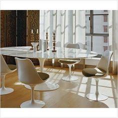 Tulip Table Marble Carrera Oval 199cm Saarinen Style - Bauhaus UK