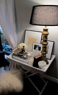 Side table decor- would love to do a make shift vanity like this