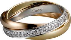 Trinity de Cartier ring, SM White gold, yellow gold, pink gold, diamonds