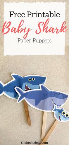 Quick and Easy DIY Baby Shark Puppets - The Keele Deal Shark Activities, Fun Activities For Kids, Preschool Activities, Free Baby Stuff, Cool Baby Stuff, Toddler Crafts, Crafts For Kids, Toddler Stuff, Shark Puppet