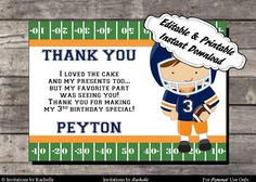Football Birthday Thank You Card Orange and Blue - Editable Printable Digital File with Instant Download