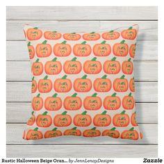 Rustic Halloween Beige Orange Pumpkin Pattern Outdoor Pillow