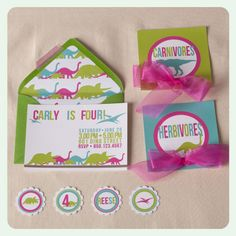 Dinosaur Party - Bright Girls Colors