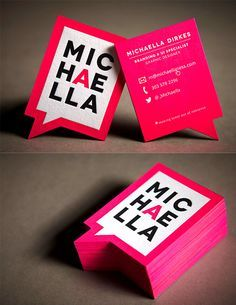 Bright Neon Pink Bold Die Cut Letterpress Business Card Design